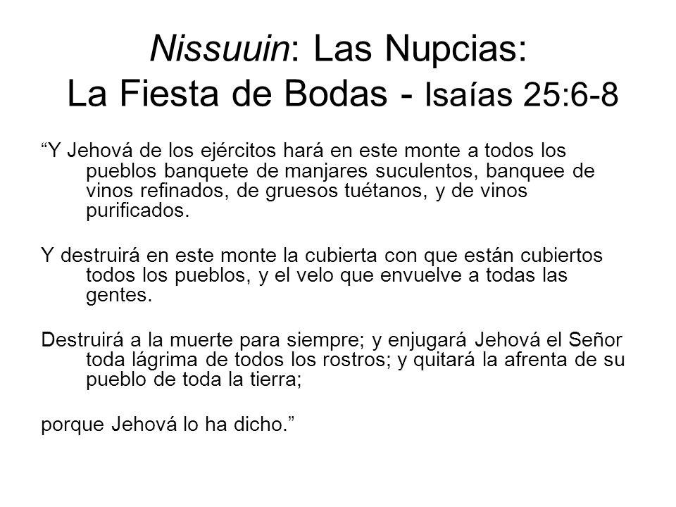 Nissuuin: Las Nupcias: La Fiesta de Bodas - Isaías 25:6-8