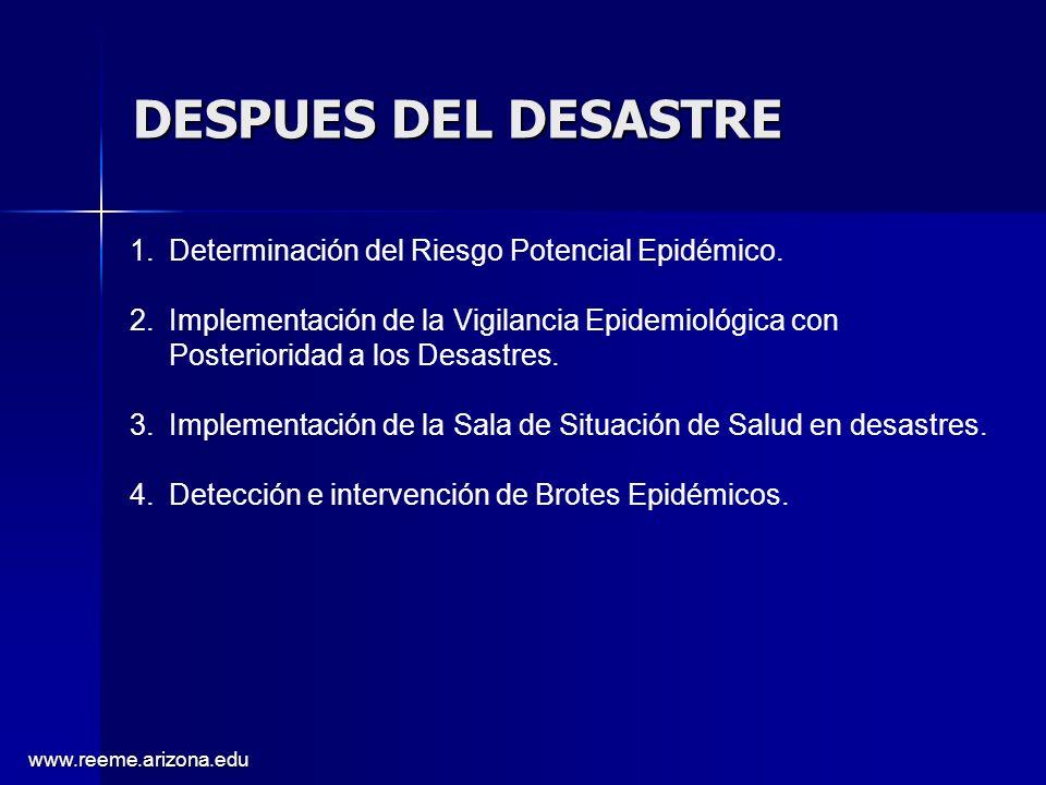 DESPUES DEL DESASTRE Determinación del Riesgo Potencial Epidémico.