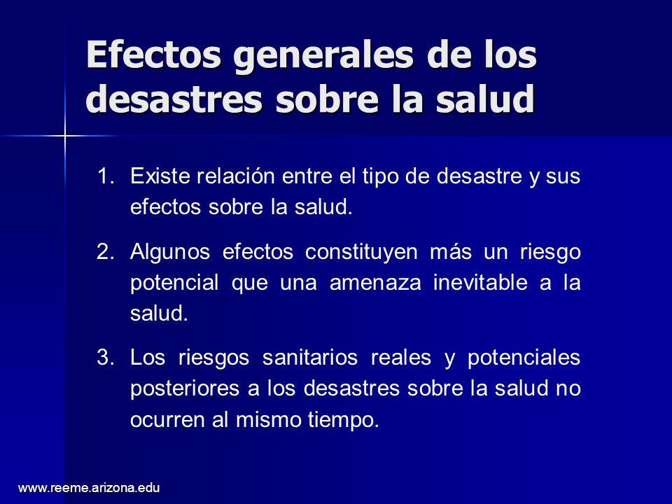 Efectos generales de los desastres sobre la salud