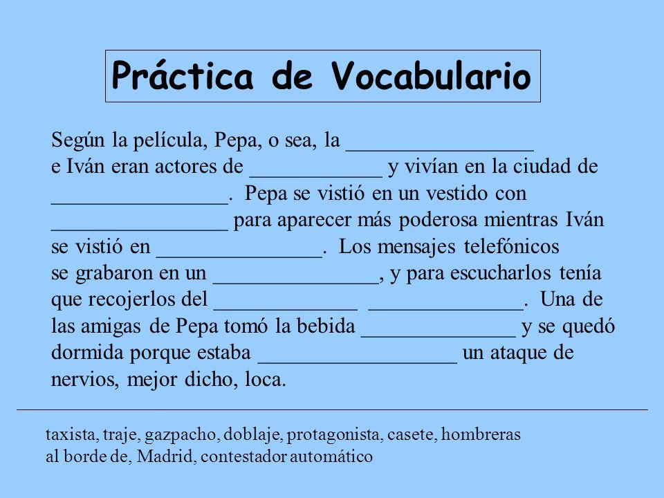 Práctica de Vocabulario
