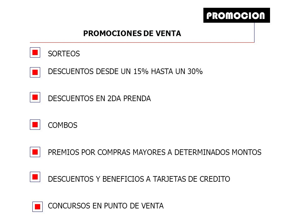 PROMOCION PROMOCIONES DE VENTA
