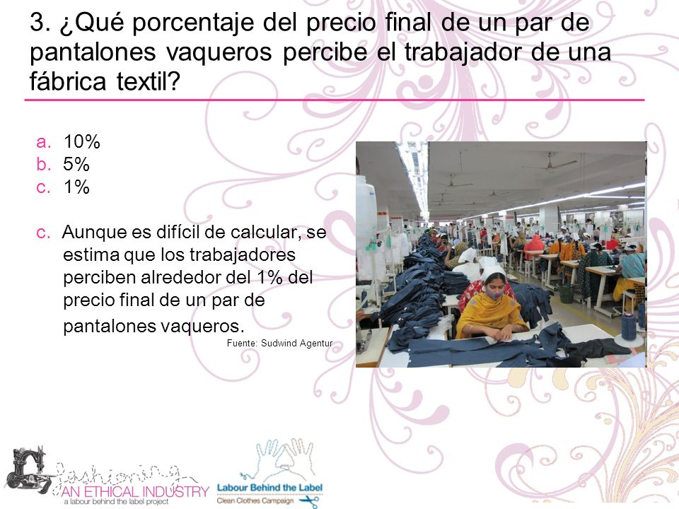 3. ¿Qué porcentaje del precio final de un par de pantalones vaqueros percibe el trabajador de una fábrica textil