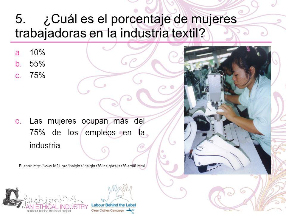 5. ¿Cuál es el porcentaje de mujeres trabajadoras en la industria textil