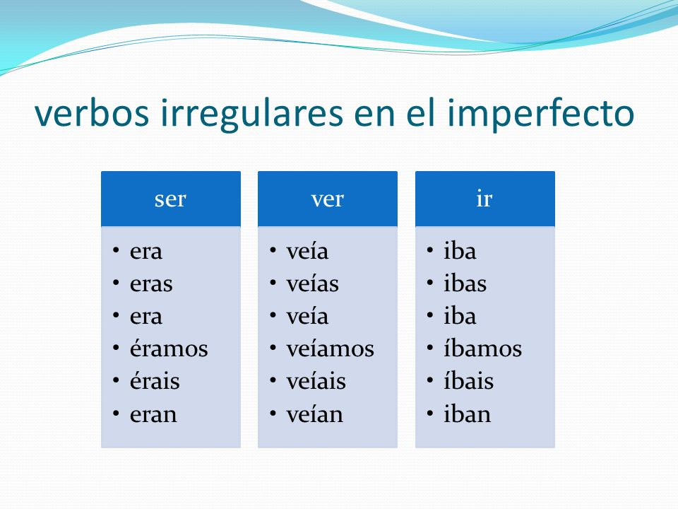 verbos irregulares en el imperfecto