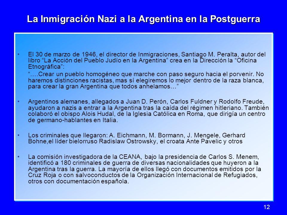 La Inmigración Nazi a la Argentina en la Postguerra