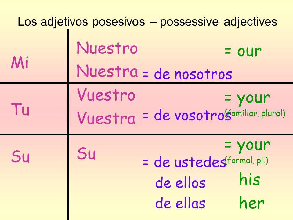 Nuestro = our Nuestra Mi Vuestro = your Vuestra Tu Su Su his her