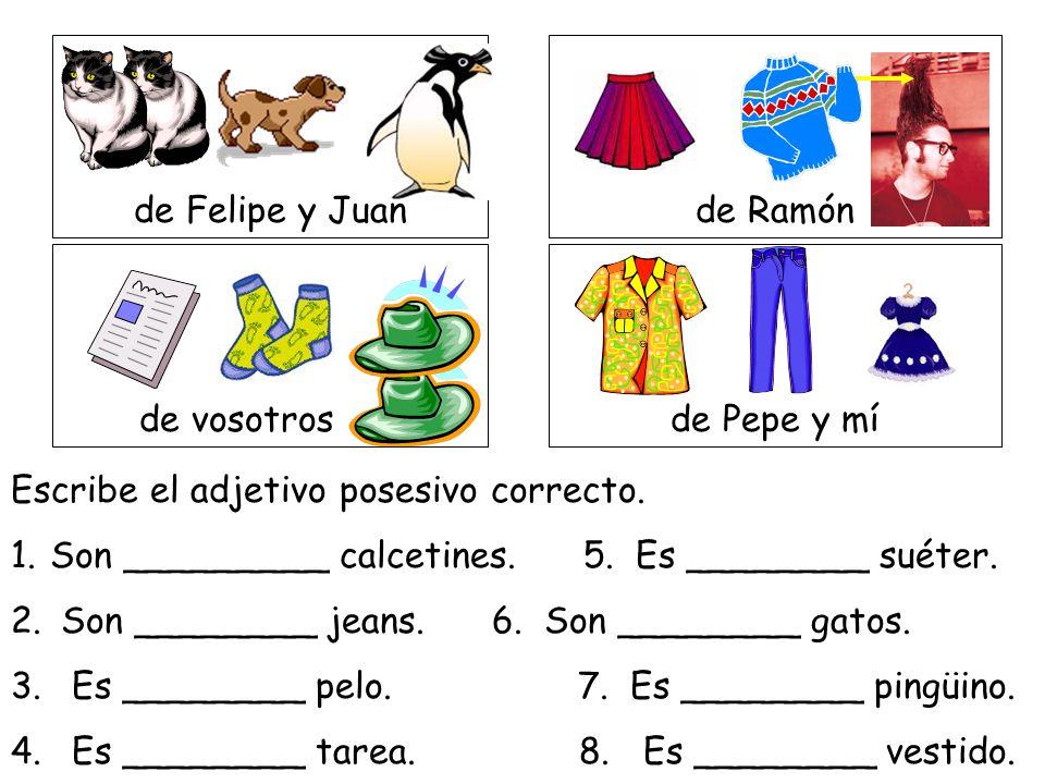 de Felipe y Juan de Ramón. de vosotros. de Pepe y mí. Escribe el adjetivo posesivo correcto.