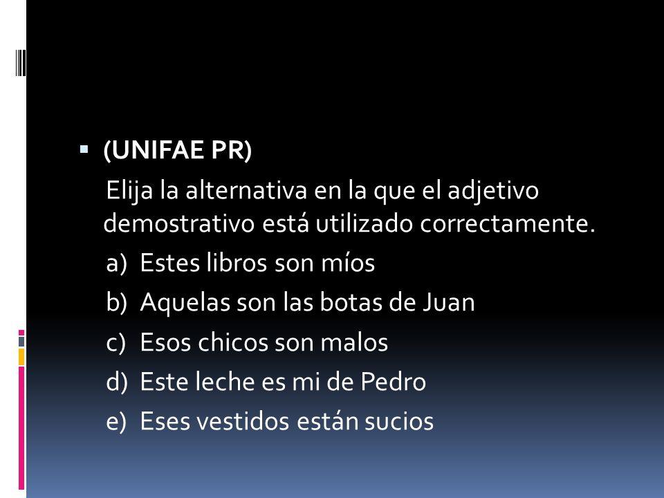 (UNIFAE PR) Elija la alternativa en la que el adjetivo demostrativo está utilizado correctamente. a) Estes libros son míos.