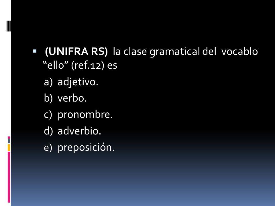(UNIFRA RS) la clase gramatical del vocablo ello (ref.12) es