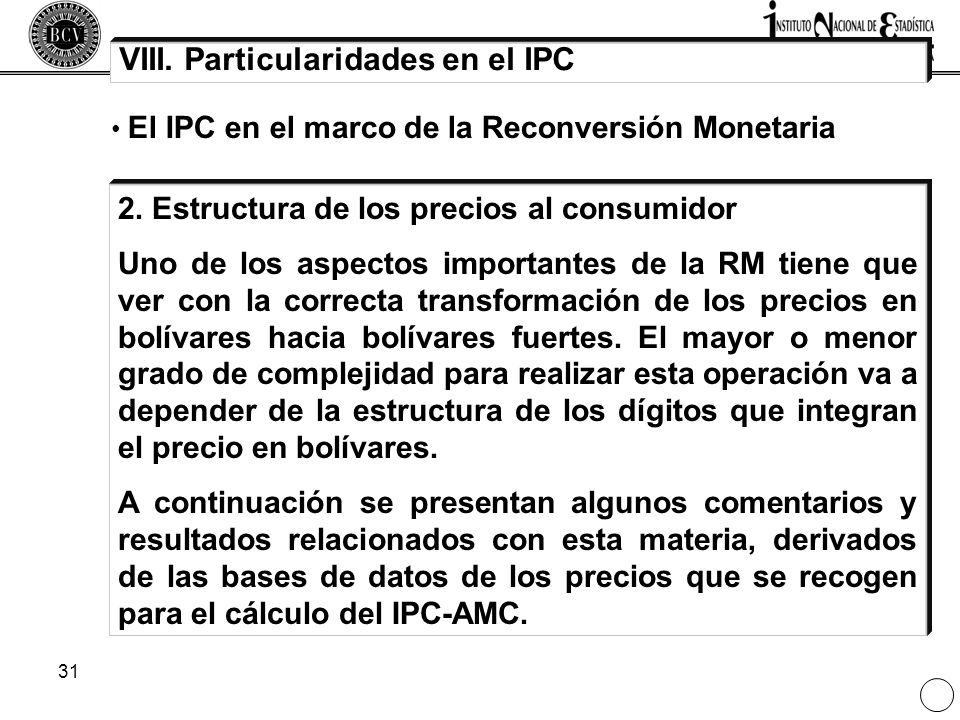 VIII. Particularidades en el IPC