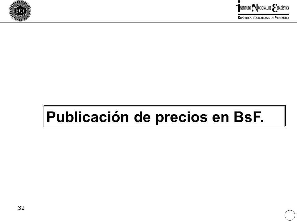 Publicación de precios en BsF.