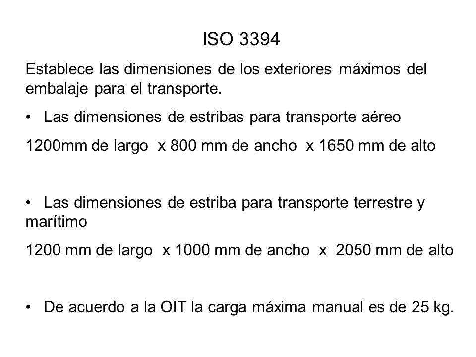 ISO 3394 Establece las dimensiones de los exteriores máximos del embalaje para el transporte. Las dimensiones de estribas para transporte aéreo.