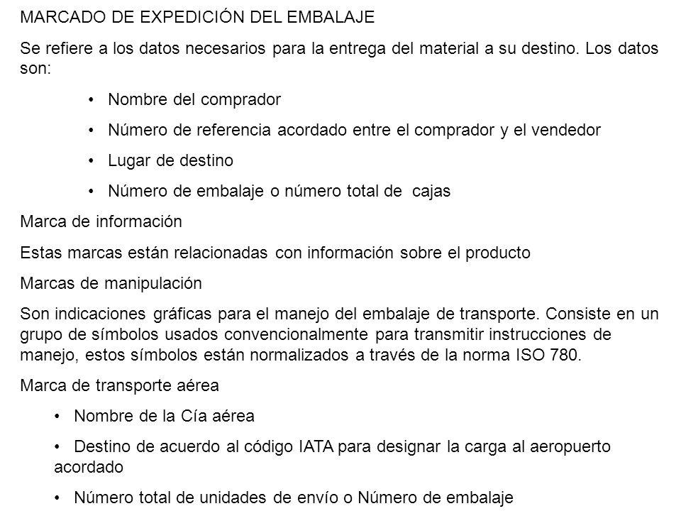 MARCADO DE EXPEDICIÓN DEL EMBALAJE