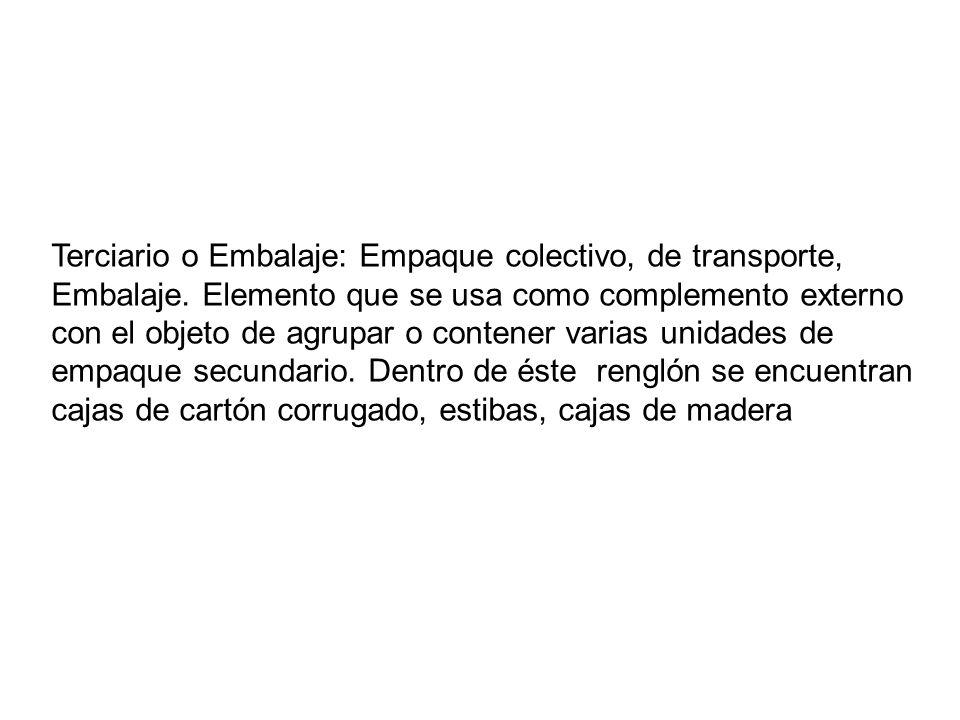 Terciario o Embalaje: Empaque colectivo, de transporte, Embalaje