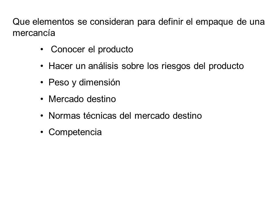 Que elementos se consideran para definir el empaque de una mercancía