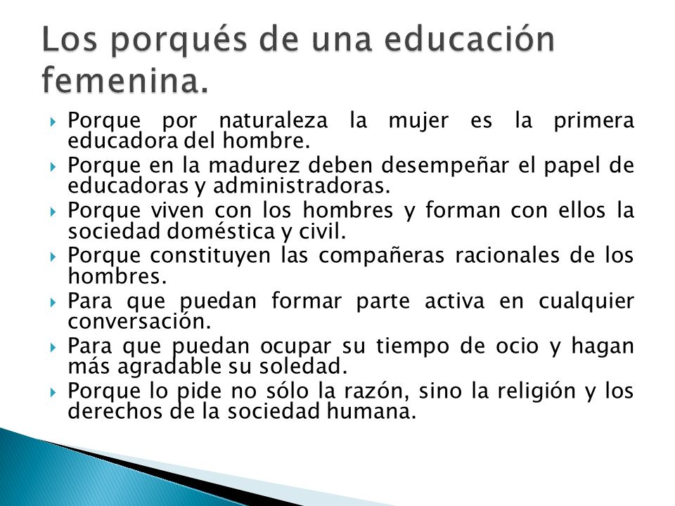 Los porqués de una educación femenina.