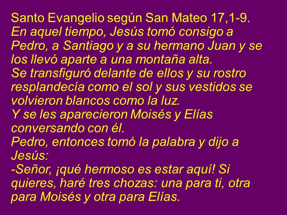 Santo Evangelio según San Mateo 17,1-9.