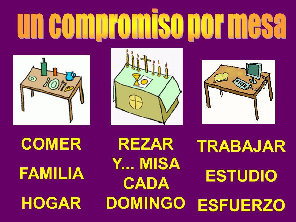 COMER FAMILIA HOGAR REZAR Y... MISA CADA DOMINGO TRABAJAR ESTUDIO