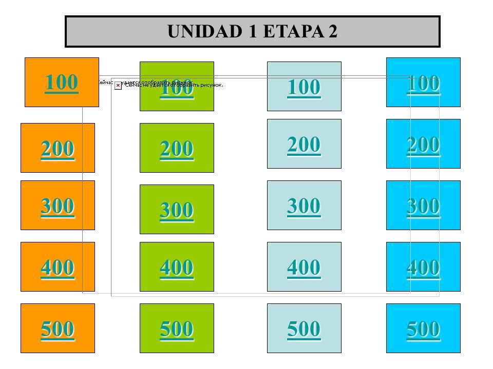 UNIDAD 1 ETAPA 2 100 100 100 100 200 200 200 200 300 300 300 300 400 400 400 400 500 500 500 500