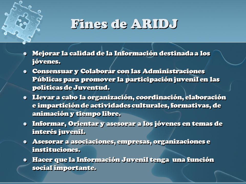 Fines de ARIDJ Mejorar la calidad de la Información destinada a los jóvenes.