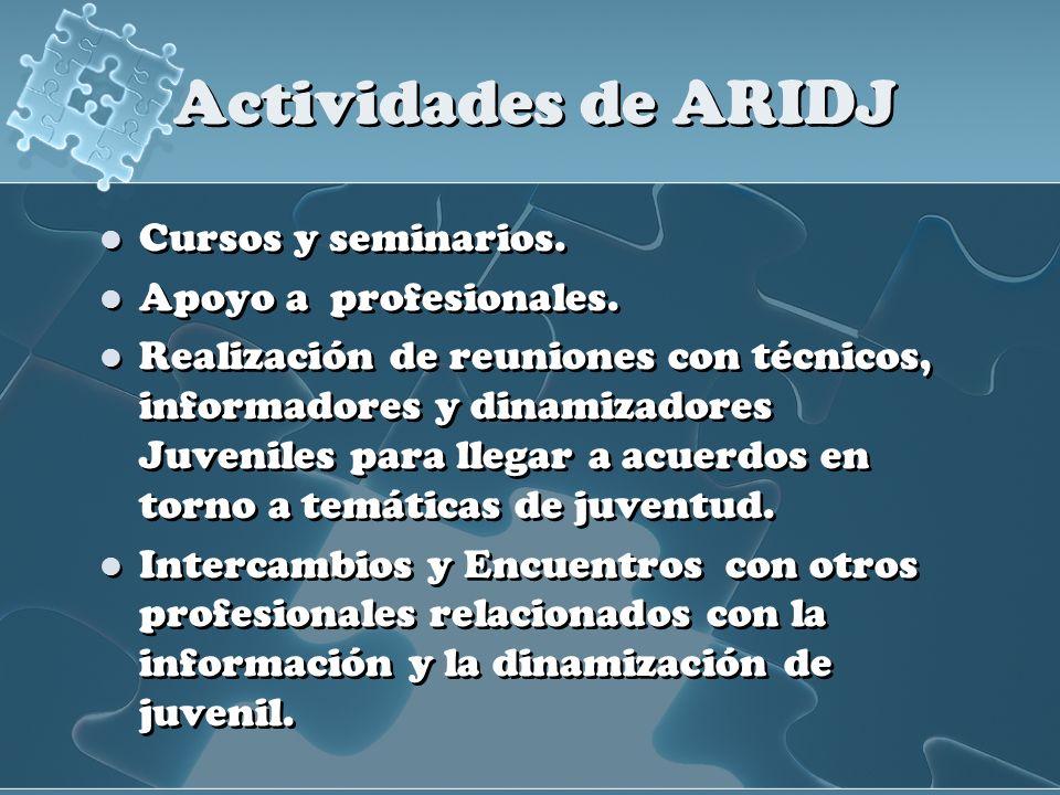 Actividades de ARIDJ Cursos y seminarios. Apoyo a profesionales.