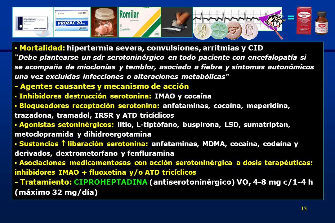 = ▪ Mortalidad: hipertermia severa, convulsiones, arritmias y CID