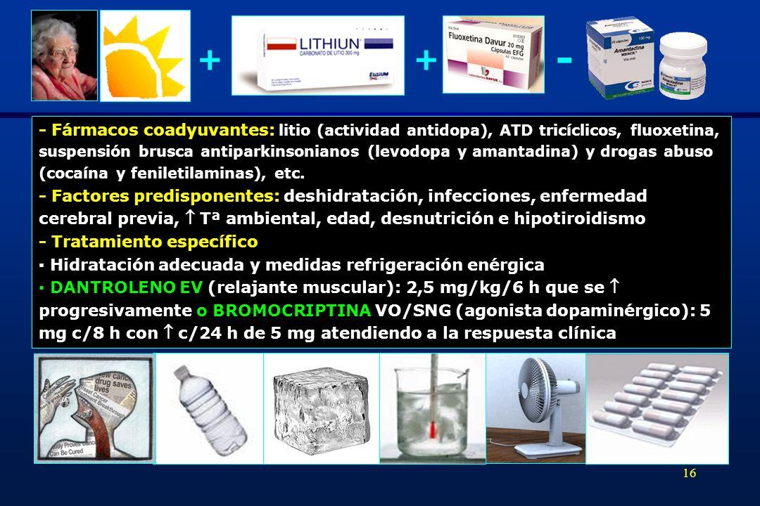 - + + - Fármacos coadyuvantes: litio (actividad antidopa), ATD tricíclicos, fluoxetina,