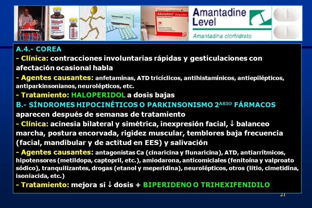 B.- SÍNDROMES HIPOCINÉTICOS O PARKINSONISMO 2ARIO FÁRMACOS