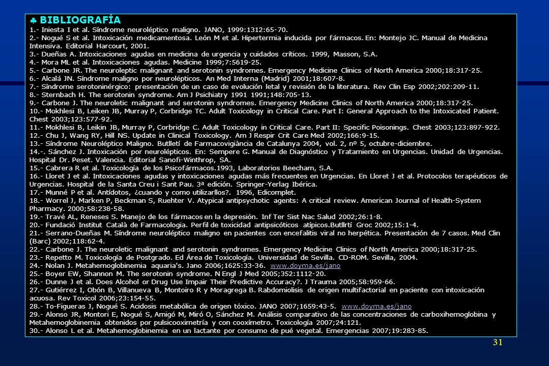  BIBLIOGRAFÍA 1.- Iniesta I et al. Síndrome neuroléptico maligno. JANO, 1999:1312:65-70.