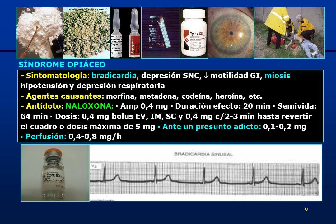 SÍNDROME OPIÁCEO - Sintomatología: bradicardia, depresión SNC,  motilidad GI, miosis. hipotensión y depresión respiratoria.