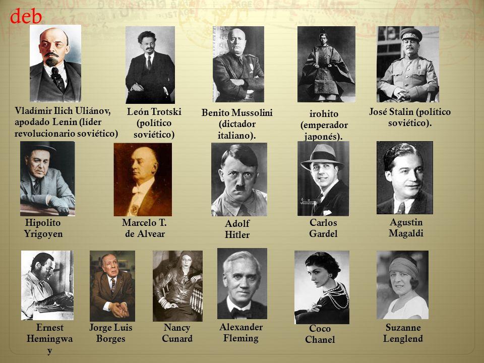 deb Vladímir Ilich Uliánov, apodado Lenin (líder revolucionario soviético) León Trotski (político soviético)