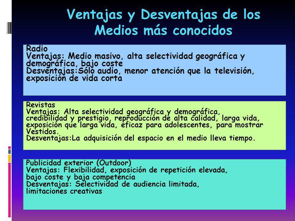 Ventajas y Desventajas de los Medios más conocidos