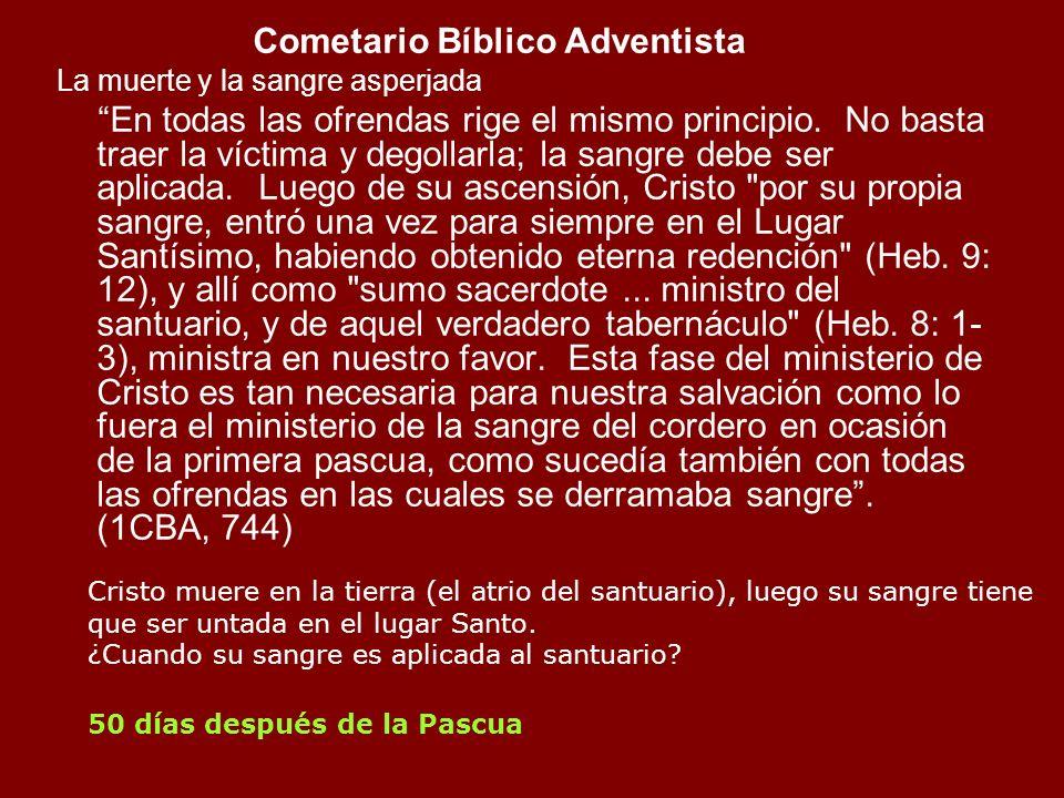 Cometario Bíblico Adventista La muerte y la sangre asperjada