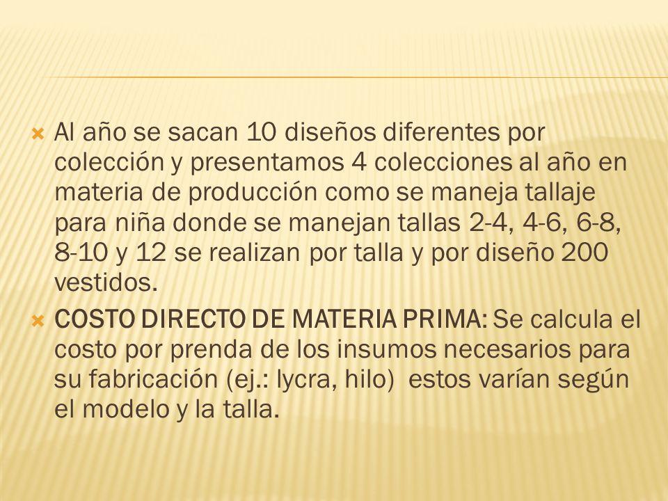 Al año se sacan 10 diseños diferentes por colección y presentamos 4 colecciones al año en materia de producción como se maneja tallaje para niña donde se manejan tallas 2-4, 4-6, 6-8, 8-10 y 12 se realizan por talla y por diseño 200 vestidos.