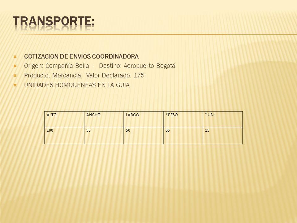 TRANSPORTE: COTIZACION DE ENVIOS COORDINADORA