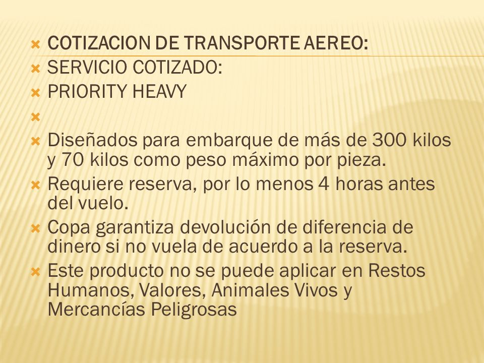 COTIZACION DE TRANSPORTE AEREO: