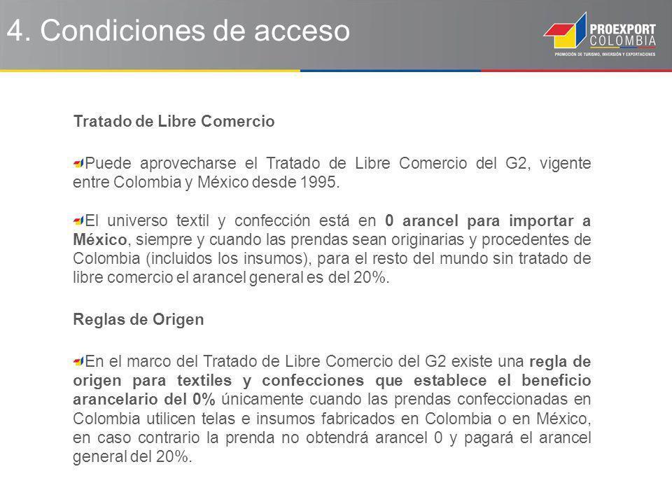 4. Condiciones de acceso Tratado de Libre Comercio