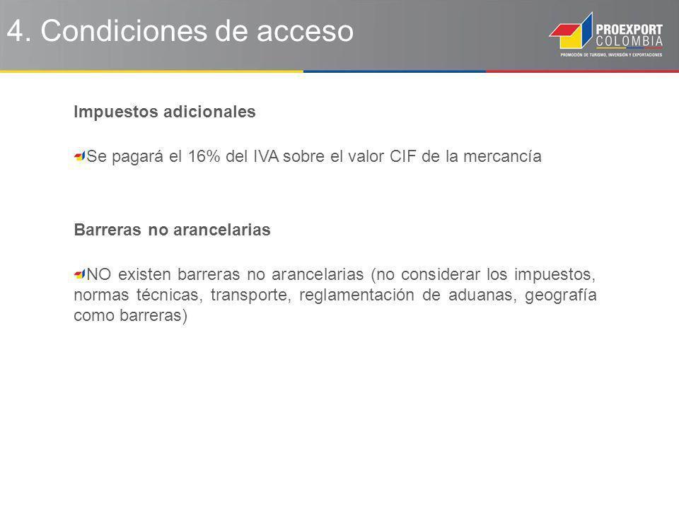 4. Condiciones de acceso Impuestos adicionales