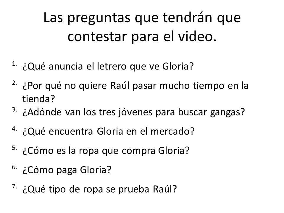 Las preguntas que tendrán que contestar para el video.