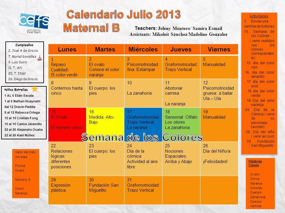 Calendario Julio 2013 Semana de los Colores
