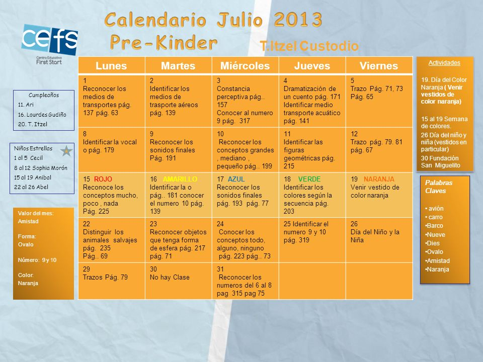 Calendario Julio 2013 Pre-Kinder T.Itzel Custodio Lunes Martes