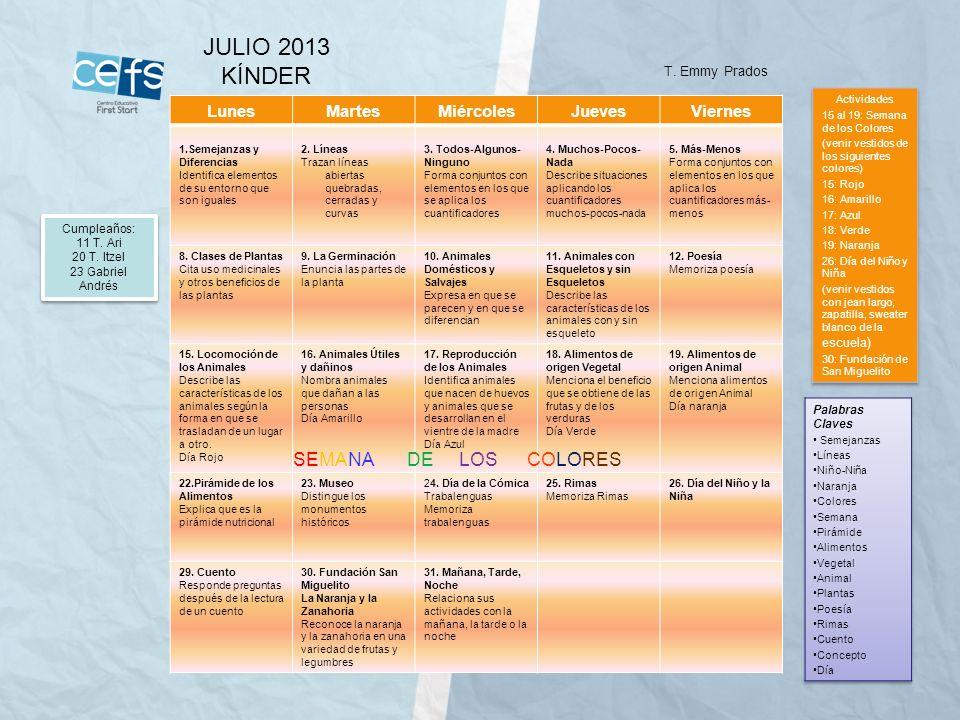 JULIO 2013 KÍNDER SEMANA DE LOS COLORES Lunes Martes Miércoles Jueves
