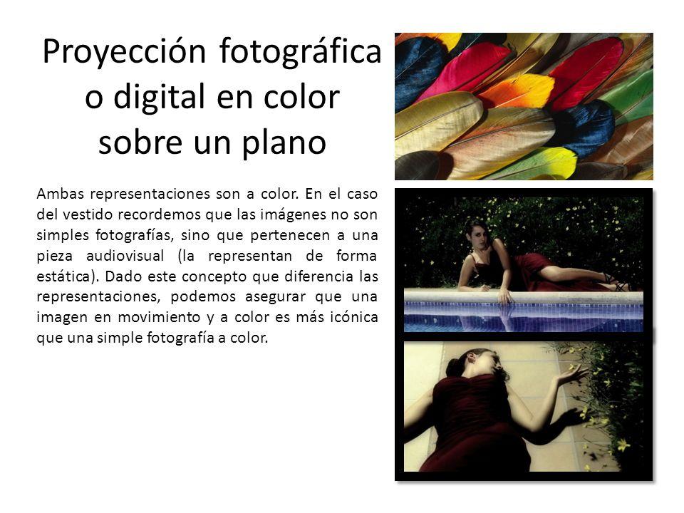 Proyección fotográfica o digital en color sobre un plano
