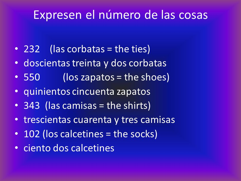 Expresen el número de las cosas