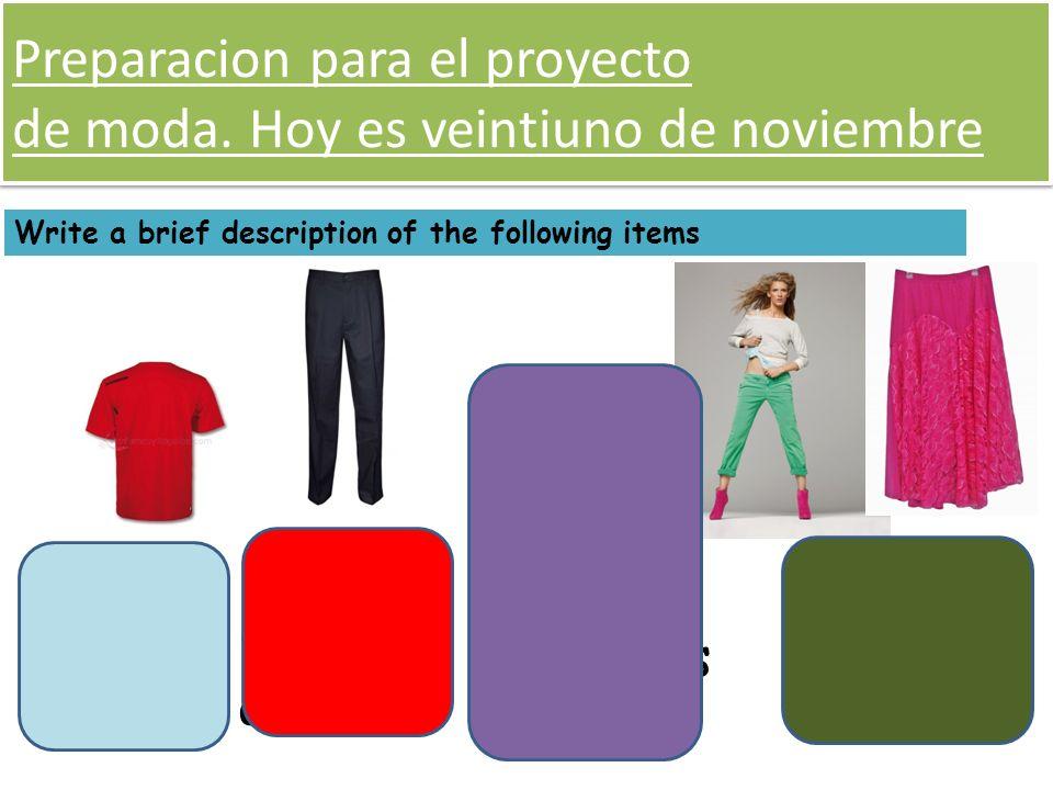 Preparacion para el proyecto de moda. Hoy es veintiuno de noviembre