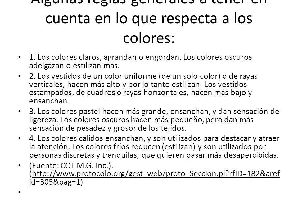 Algunas reglas generales a tener en cuenta en lo que respecta a los colores: