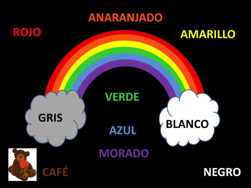 ANARANJADO ROJO AMARILLO VERDE GRIS BLANCO AZUL MORADO CAFÉ NEGRO