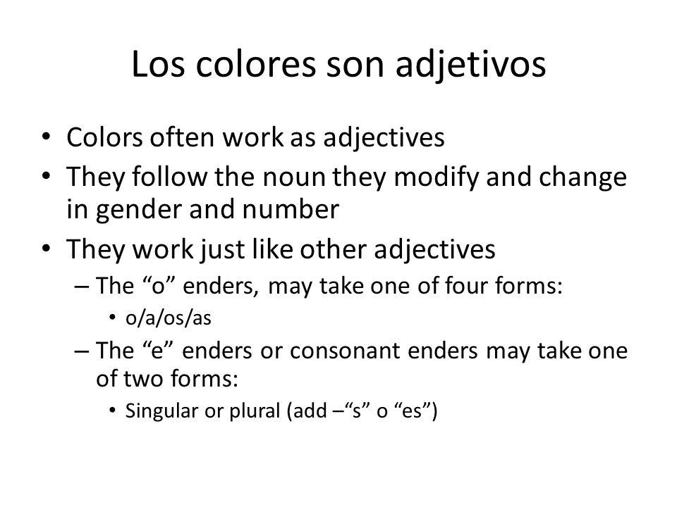 Los colores son adjetivos