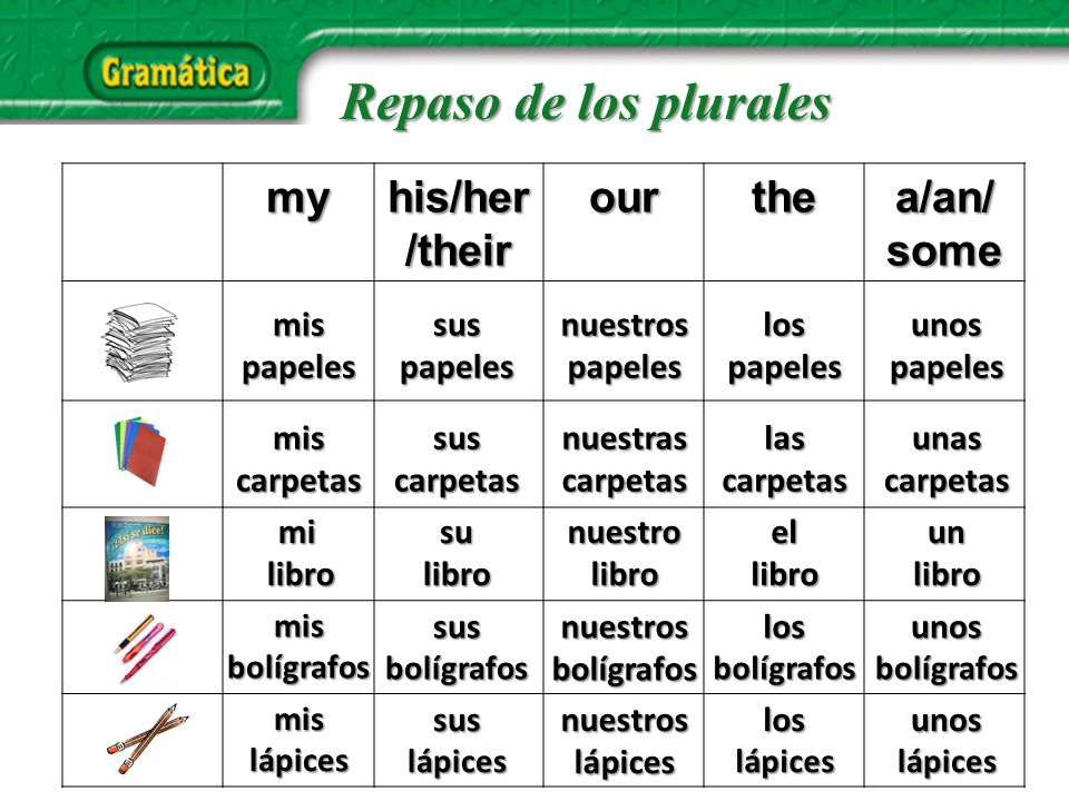 Repaso de los plurales my his/her/their our the a/an/ some mis papeles