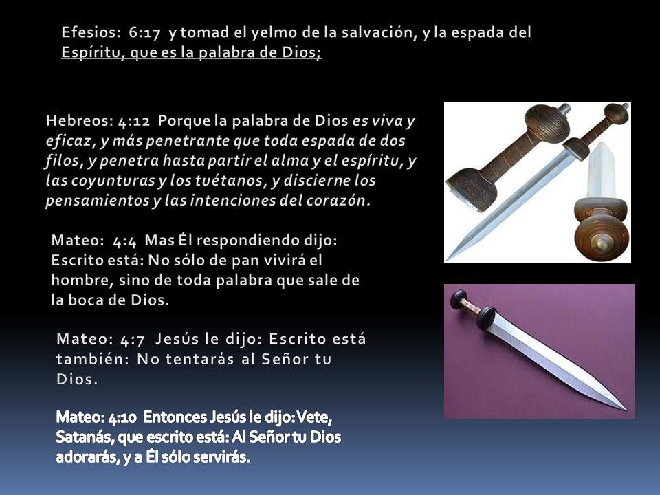Efesios: 6:17 y tomad el yelmo de la salvación, y la espada del Espíritu, que es la palabra de Dios;
